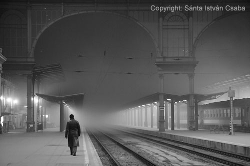 The Keleti railway station (Budapest) in a foggy evening.